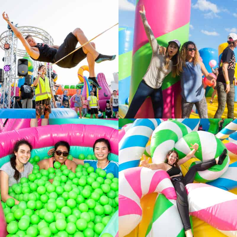 groups of friends enjoying the inflatable attractions