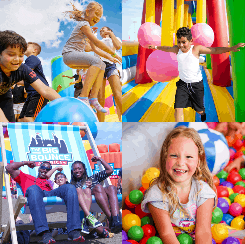 children off all ages enjoying the inflatable attractions